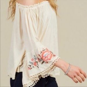 Altar'd State Cream Embroidered Off Shoulder Top
